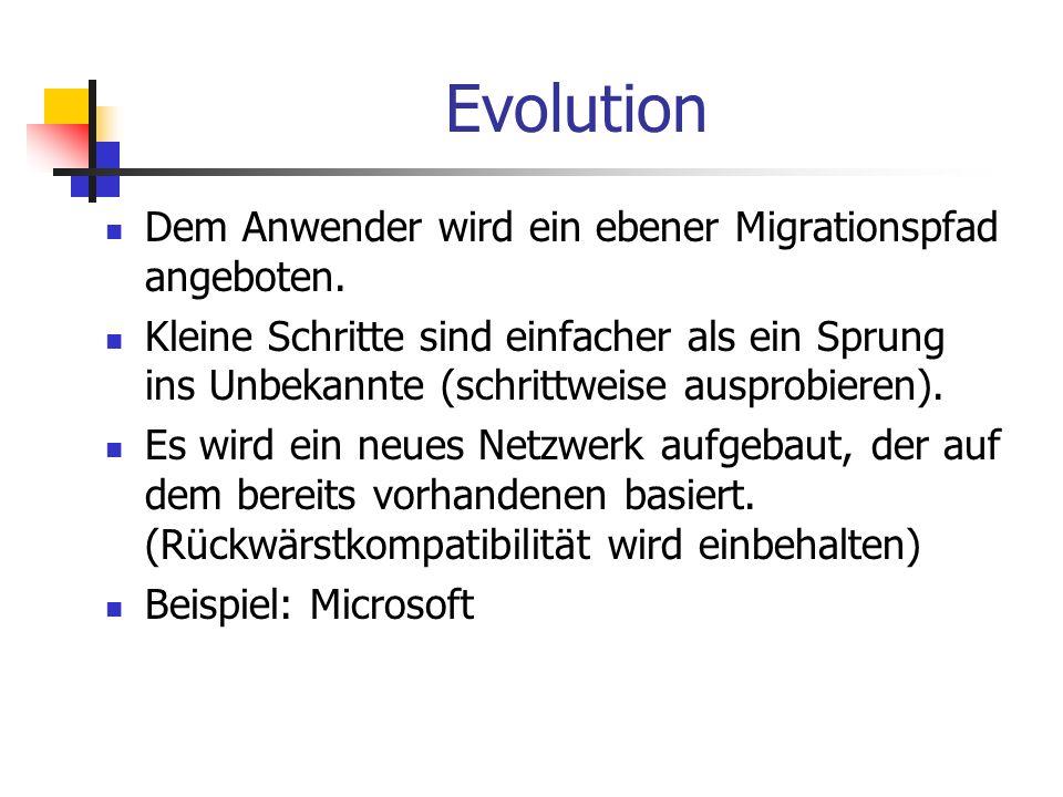 Evolution Dem Anwender wird ein ebener Migrationspfad angeboten. Kleine Schritte sind einfacher als ein Sprung ins Unbekannte (schrittweise ausprobier