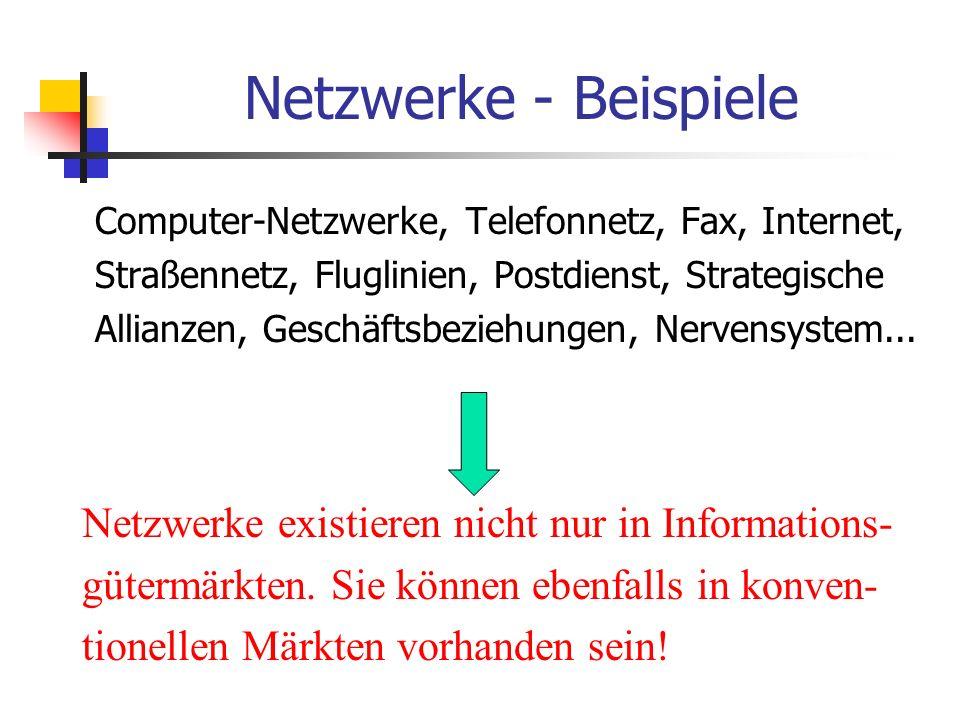 Netzwerke Reale Netzwerke Verbindungen zwischen den einzelnen Knoten sind Physikalischer Natur (z.B.: Telefon, Fax, Bahnnetz) Virtuelle Netzwerke Verbindungen zwischen den Knoten sind unsichtbar (z.B.: CD Geräte, Netzwerk der Mac-User)