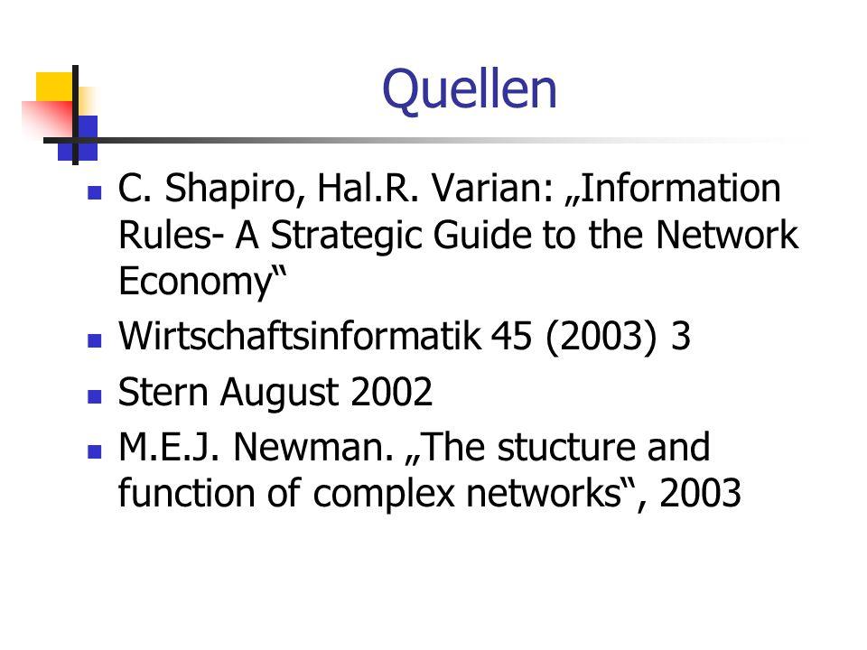 Quellen C. Shapiro, Hal.R. Varian: Information Rules- A Strategic Guide to the Network Economy Wirtschaftsinformatik 45 (2003) 3 Stern August 2002 M.E