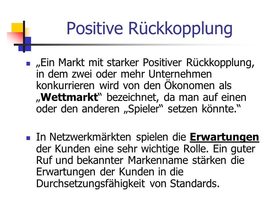 Ein Markt mit starker Positiver Rückkopplung, in dem zwei oder mehr Unternehmen konkurrieren wird von den Ökonomen alsWettmarkt bezeichnet, da man auf