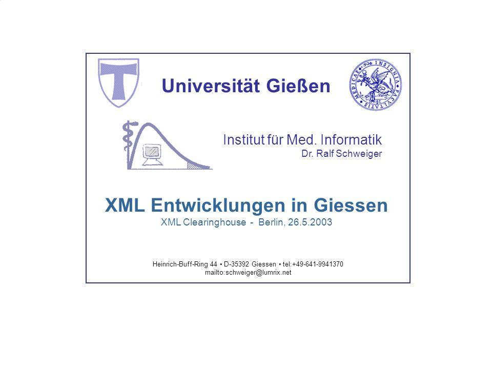 XML Werkzeuge - Überblick 2000-01 XML Framework 2000-01 XML Framework 2001-05 dtd2xs 2001-06 xsbrowser 2002-09 HL7 v2.xml engine 2001-11 Lumrix
