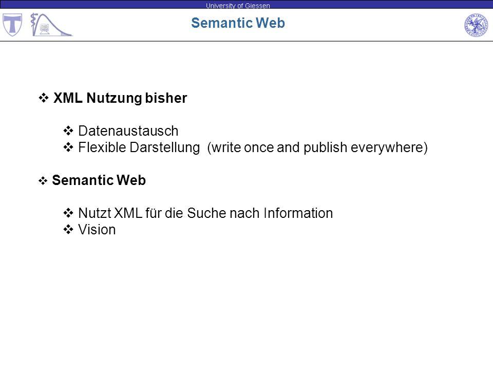 Semantic Web XML Nutzung bisher Datenaustausch Flexible Darstellung (write once and publish everywhere) Semantic Web Nutzt XML für die Suche nach Info