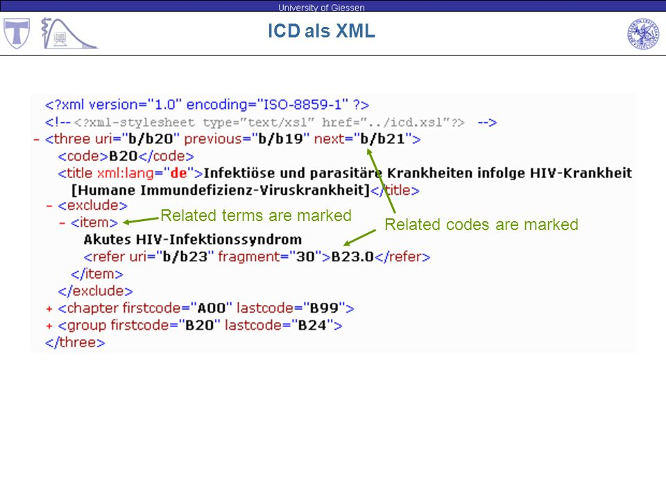 ICD als XML Related terms are marked Related codes are marked