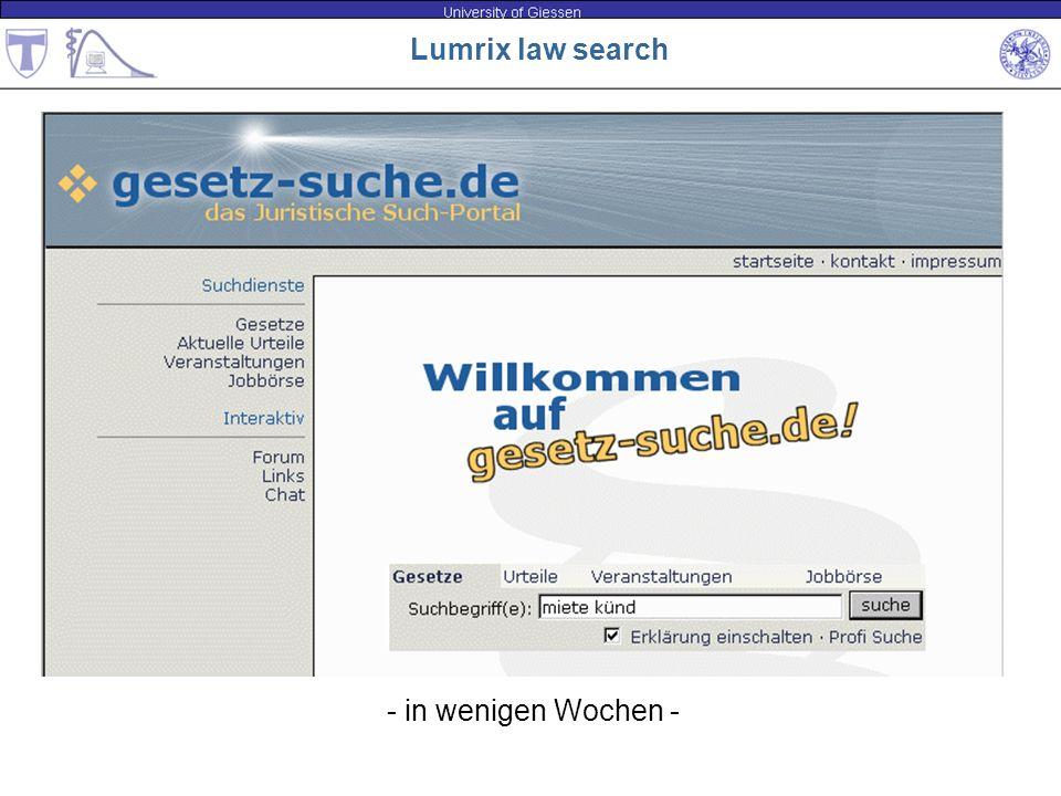 Lumrix law search - in wenigen Wochen -