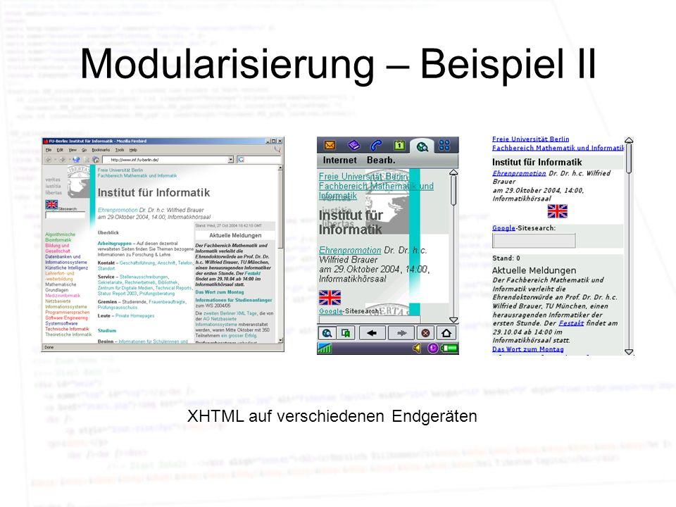Modularisierung – Beispiel II XHTML auf verschiedenen Endgeräten