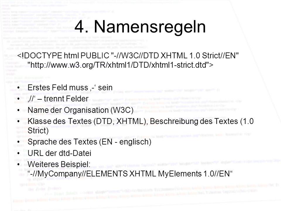 4. Namensregeln Erstes Feld muss - sein // – trennt Felder Name der Organisation (W3C) Klasse des Textes (DTD, XHTML), Beschreibung des Textes (1.0 St