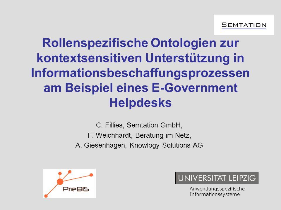 Rollenspezifische Ontologien zur kontextsensitiven Unterstützung in Informationsbeschaffungsprozessen am Beispiel eines E-Government Helpdesks C. Fill