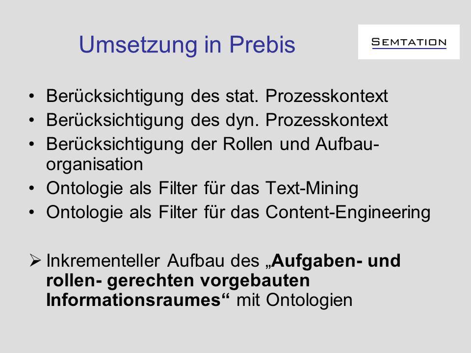 Umsetzung in Prebis Berücksichtigung des stat. Prozesskontext Berücksichtigung des dyn. Prozesskontext Berücksichtigung der Rollen und Aufbau- organis