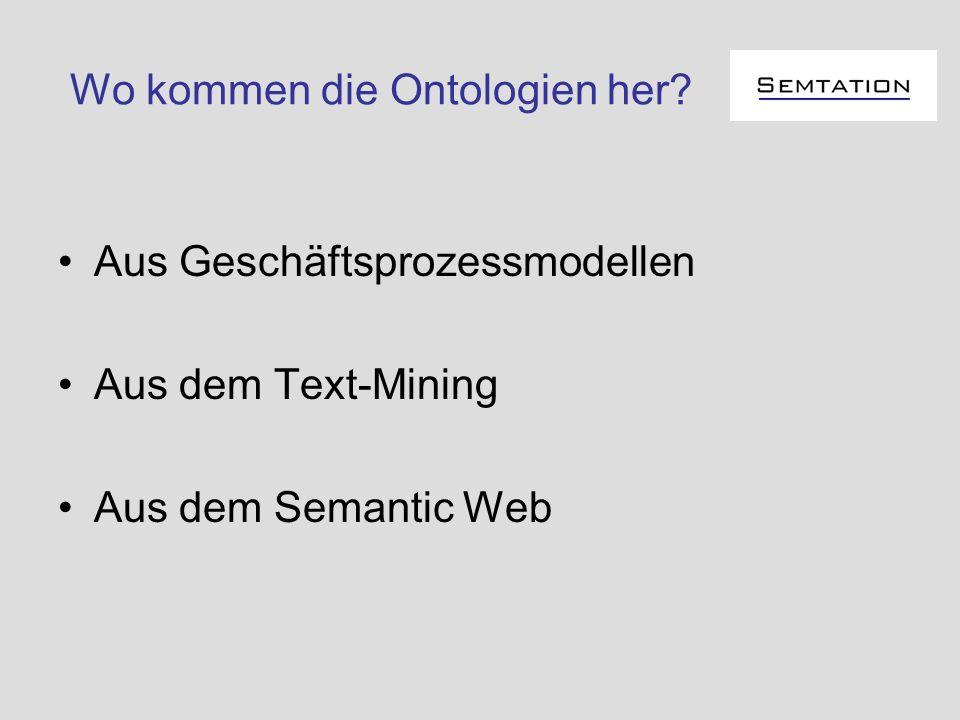 Wo kommen die Ontologien her? Aus Geschäftsprozessmodellen Aus dem Text-Mining Aus dem Semantic Web