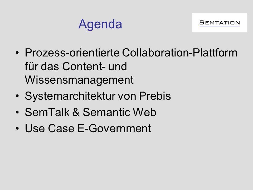 Agenda Prozess-orientierte Collaboration-Plattform für das Content- und Wissensmanagement Systemarchitektur von Prebis SemTalk & Semantic Web Use Case
