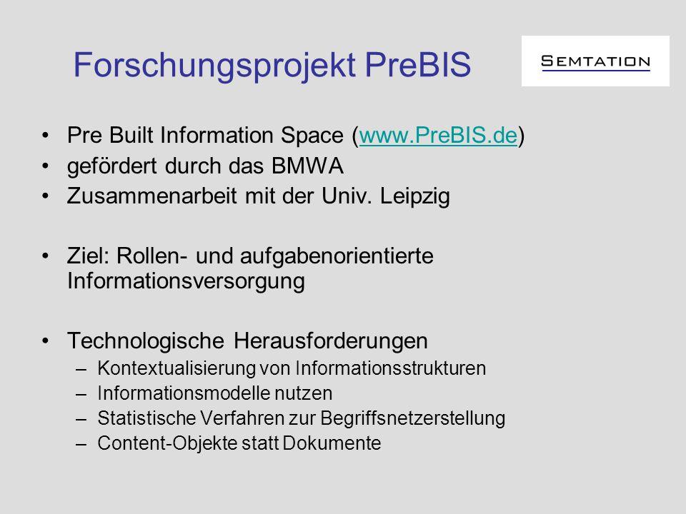 Forschungsprojekt PreBIS Pre Built Information Space (www.PreBIS.de)www.PreBIS.de gefördert durch das BMWA Zusammenarbeit mit der Univ. Leipzig Ziel: