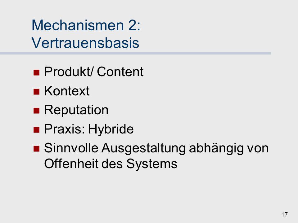 16 Mechanismen 1: Identitätenmanagement Langfristigkeit Zugang (Anfangs-Vertrauen) Externe Prüfung/ Validierung Peer-Validierung Identität nicht kostenlos Keine Zugangskriterien Interoperabilität