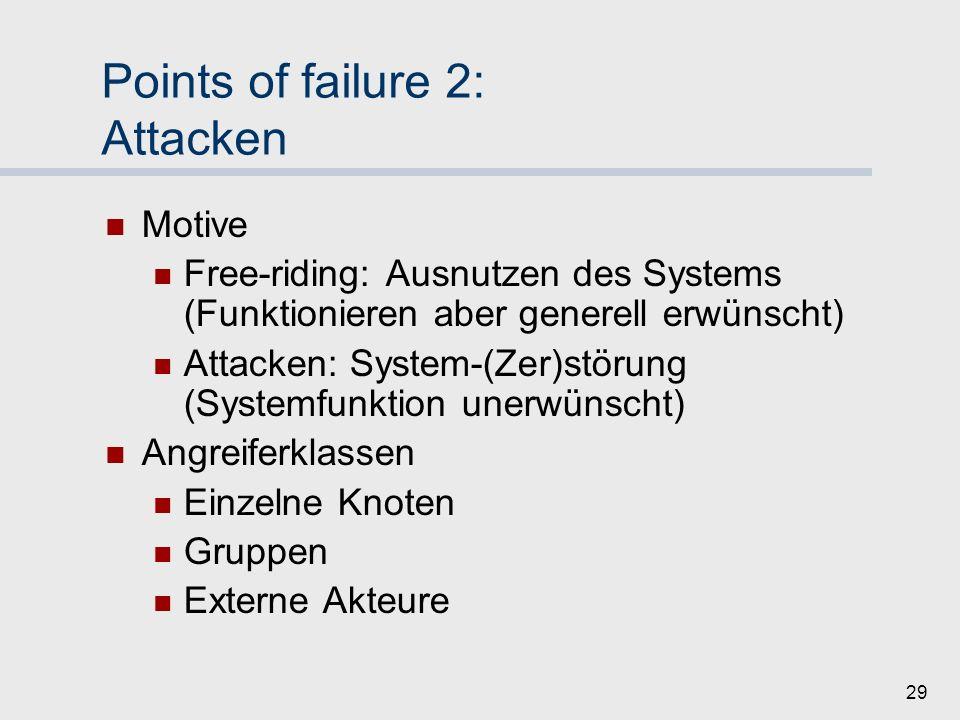 28 Points of failure 1: Zuverlässigkeit Aktionen ohne böse Absicht… [Intendiert -> nächste Folie] Inkompetente Bewertungen Achtlosigkeit Zu grober Mec