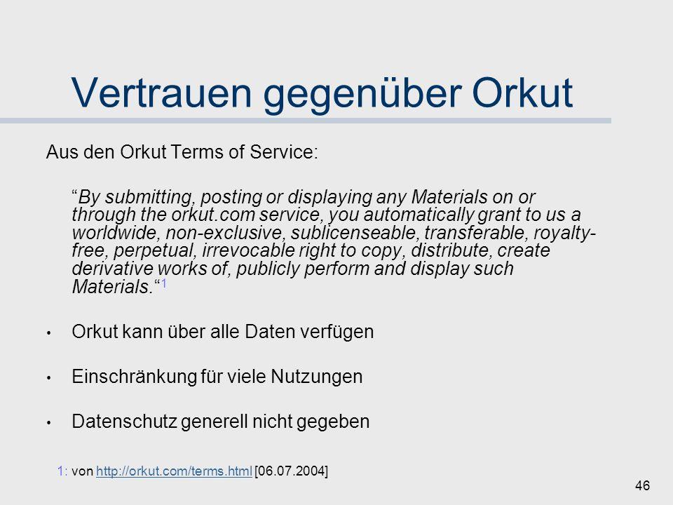 45 Orkut | Vertrauensmechanismen Kurze Wiederholung: Orkut stellt Ressourcen für ein soziales Netz zur Verfügung Teilnehmer haben unterschiedliche Ansprüche an ein Vertrauenssystem Warum ist Vertrauen wichtig bei Orkut?