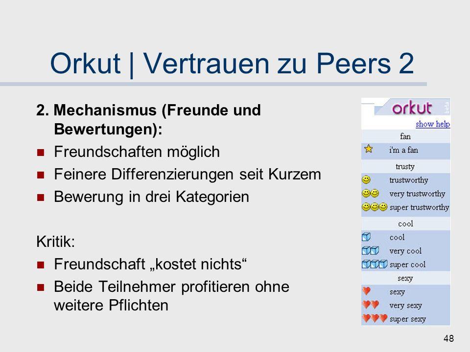 47 Orkut | Vertrauen zu Peers 1 1. Mechanismus (Einladung): Einladung durch bestehende Nutzer Schaffung von Grundvertrauen Kritik: Praxis: Accounts au