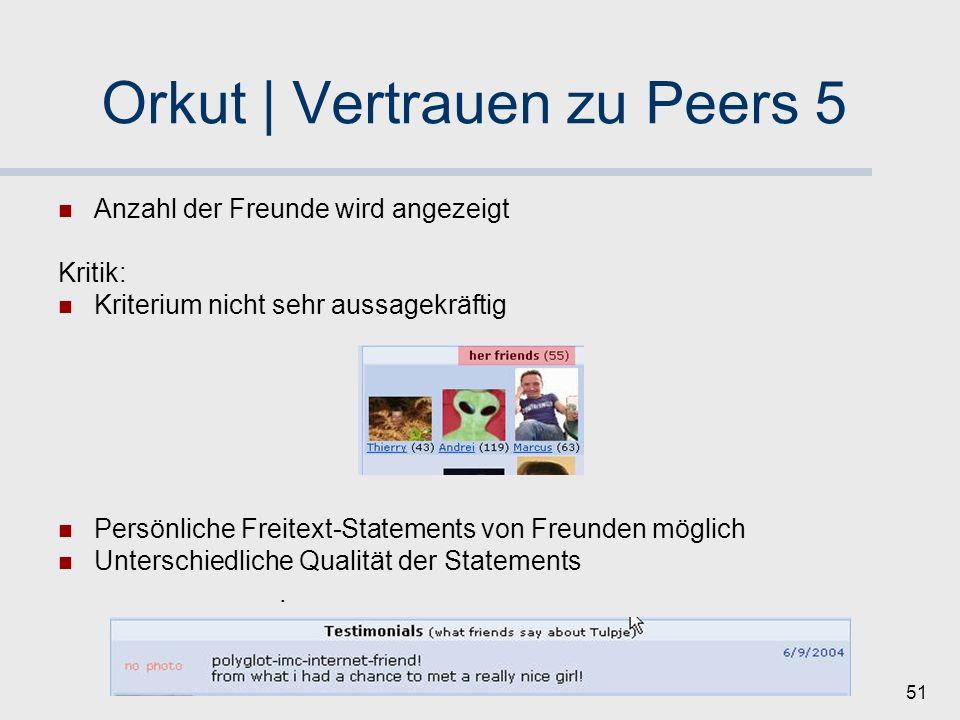 50 Orkut | Vertrauen zu Peers 4 Anzeige der Wege zu Freunden von Freunden (Weglänge <= 2) Mechanismus ermöglicht schnelles Nachfragen bei Freunden