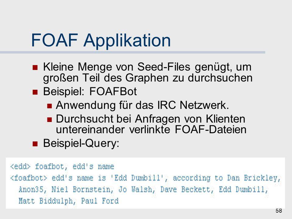 57 FOAF-Erweiterungen für Implementierung 9 Vertrauens- abstufungen Vertrauen: allgemein oder themenbezogen Verlinkung der FOAF-Dateien Vertrauenskategorien: 1.