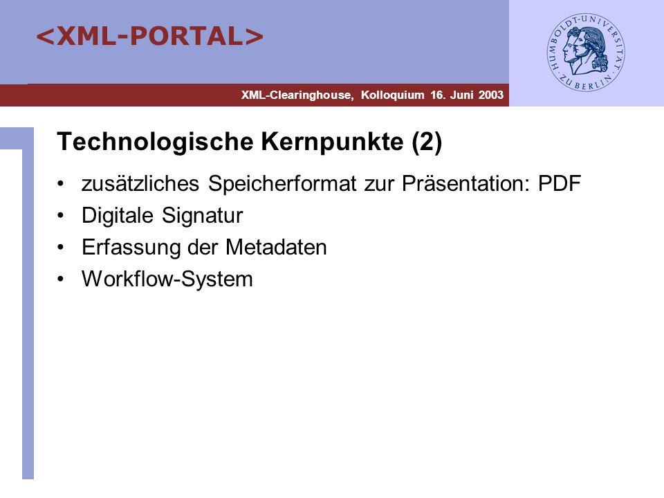 XML-Clearinghouse, Kolloquium 16. Juni 2003 Technologische Kernpunkte (2) zusätzliches Speicherformat zur Präsentation: PDF Digitale Signatur Erfassun