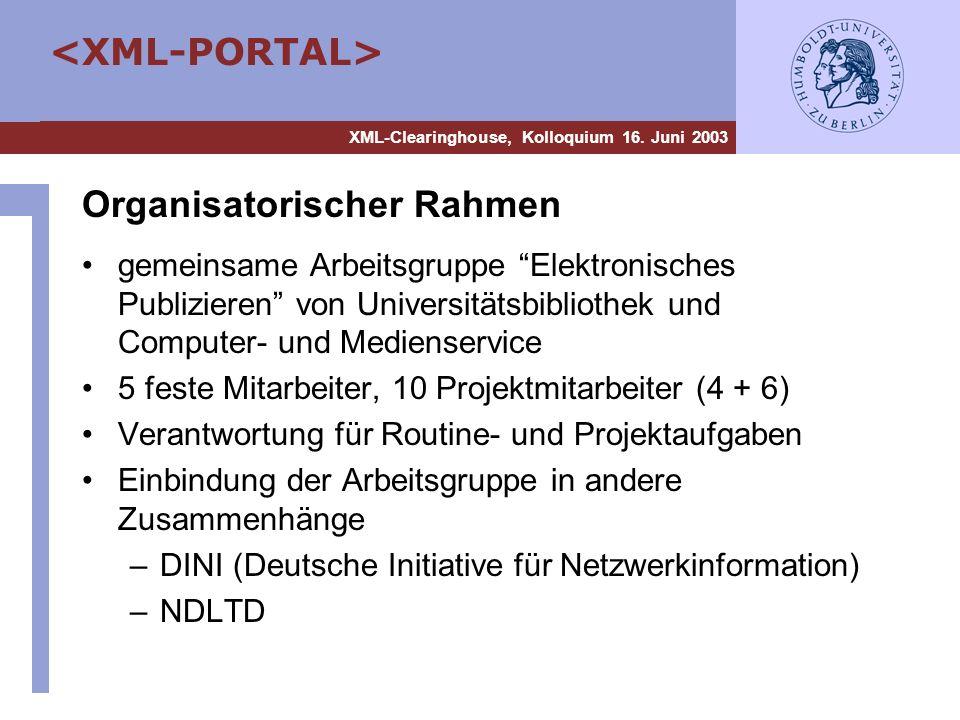 XML-Clearinghouse, Kolloquium 16. Juni 2003 Organisatorischer Rahmen gemeinsame Arbeitsgruppe Elektronisches Publizieren von Universitätsbibliothek un