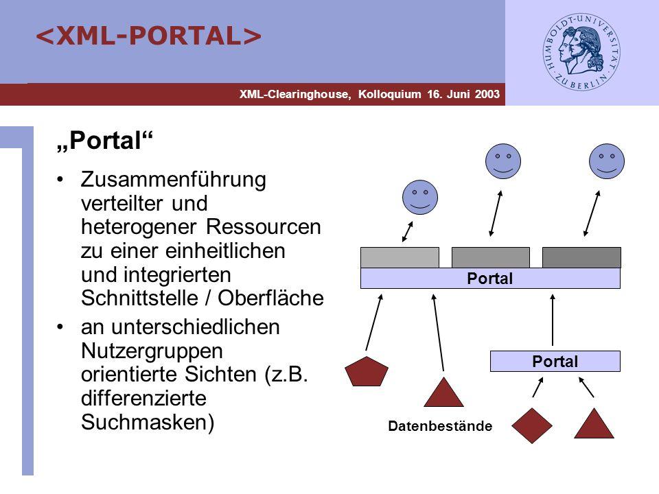 XML-Clearinghouse, Kolloquium 16. Juni 2003 Portal Zusammenführung verteilter und heterogener Ressourcen zu einer einheitlichen und integrierten Schni