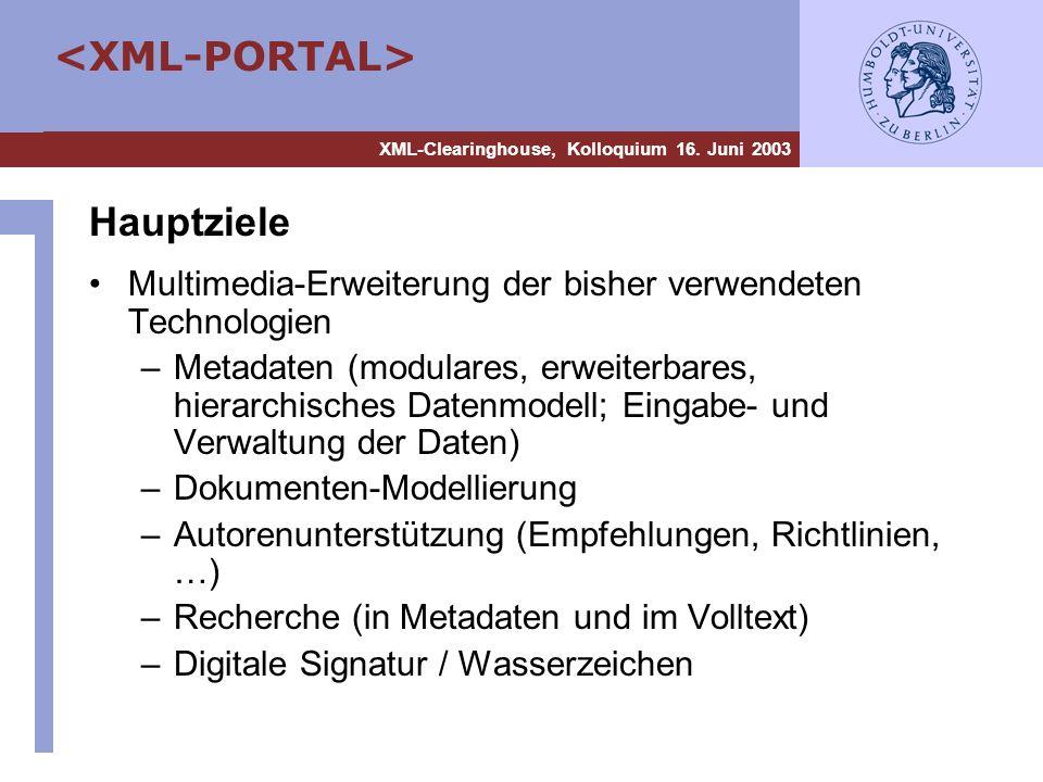 XML-Clearinghouse, Kolloquium 16. Juni 2003 Hauptziele Multimedia-Erweiterung der bisher verwendeten Technologien –Metadaten (modulares, erweiterbares