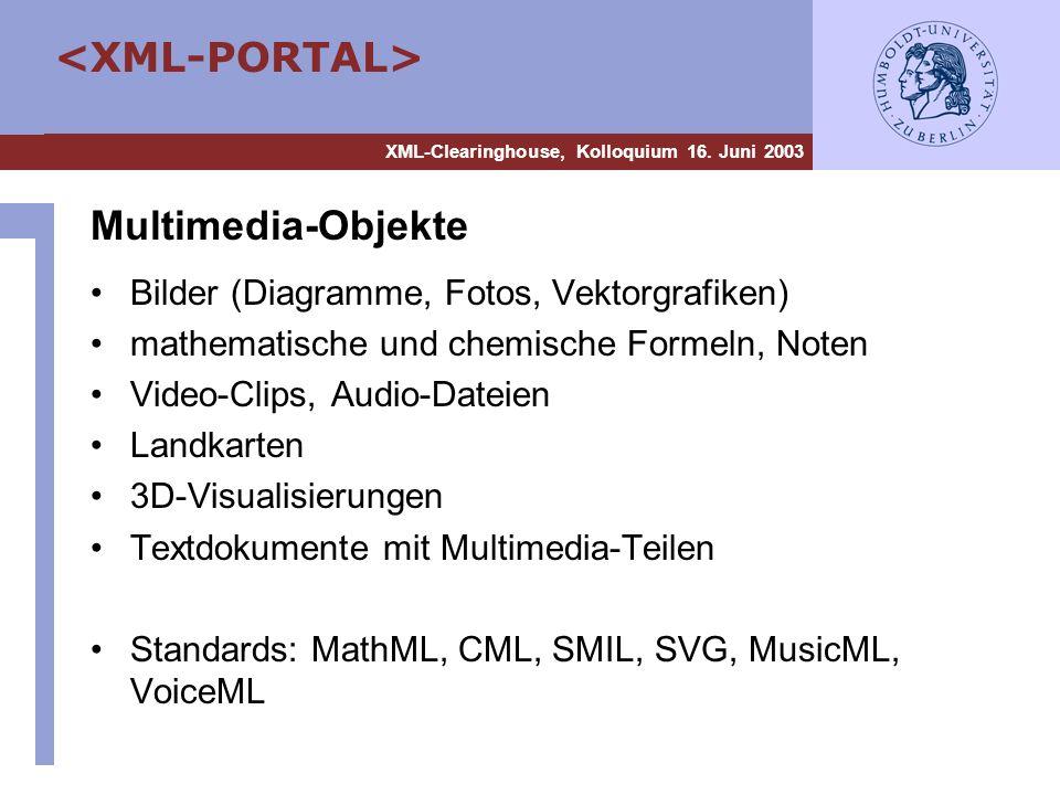 XML-Clearinghouse, Kolloquium 16. Juni 2003 Multimedia-Objekte Bilder (Diagramme, Fotos, Vektorgrafiken) mathematische und chemische Formeln, Noten Vi