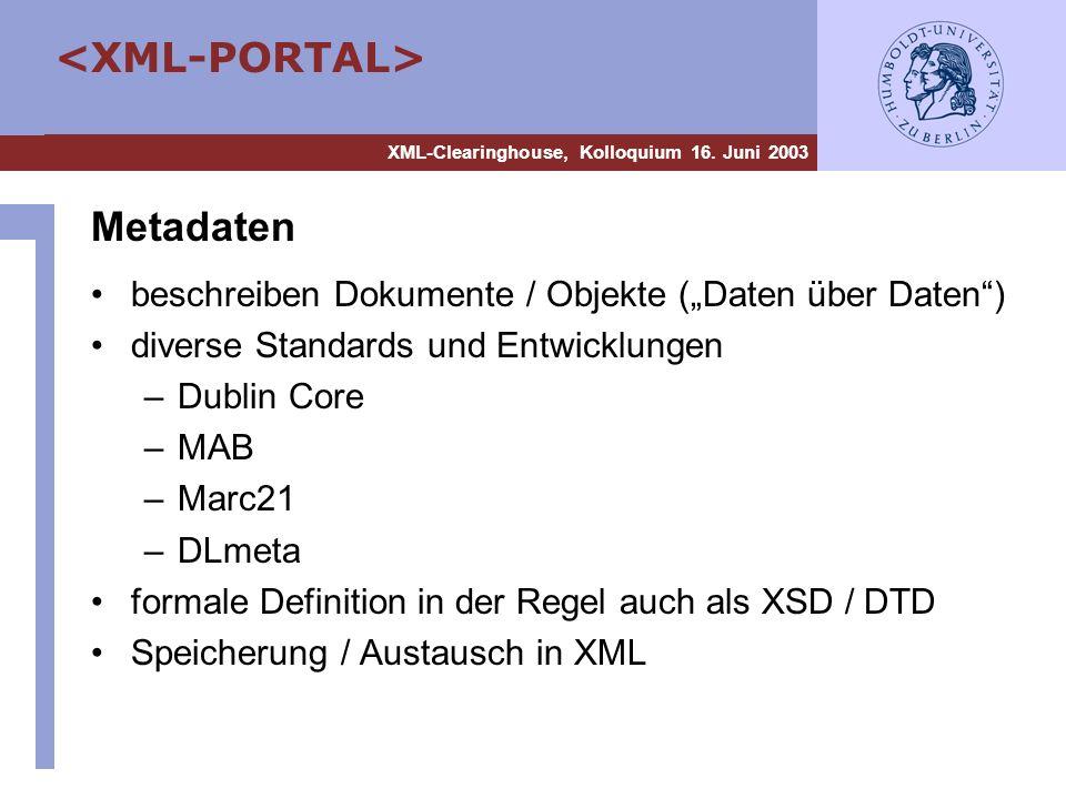XML-Clearinghouse, Kolloquium 16. Juni 2003 Metadaten beschreiben Dokumente / Objekte (Daten über Daten) diverse Standards und Entwicklungen –Dublin C