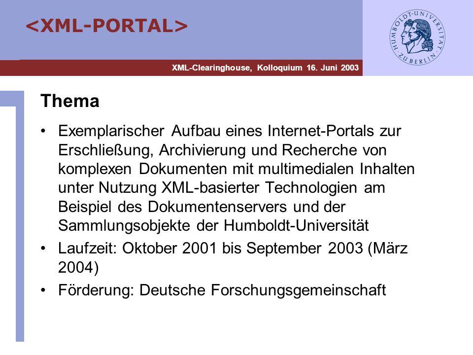 XML-Clearinghouse, Kolloquium 16. Juni 2003 Thema Exemplarischer Aufbau eines Internet-Portals zur Erschließung, Archivierung und Recherche von komple