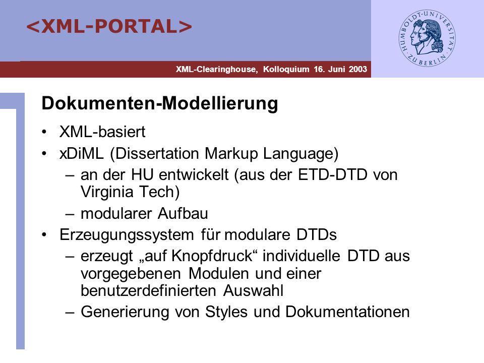 XML-Clearinghouse, Kolloquium 16. Juni 2003 Dokumenten-Modellierung XML-basiert xDiML (Dissertation Markup Language) –an der HU entwickelt (aus der ET