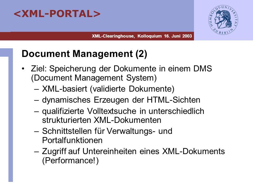 XML-Clearinghouse, Kolloquium 16. Juni 2003 Document Management (2) Ziel: Speicherung der Dokumente in einem DMS (Document Management System) –XML-bas
