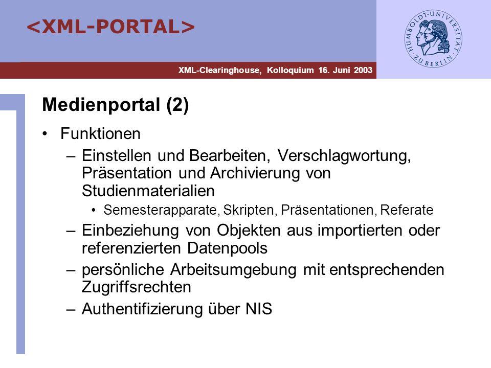 XML-Clearinghouse, Kolloquium 16. Juni 2003 Medienportal (2) Funktionen –Einstellen und Bearbeiten, Verschlagwortung, Präsentation und Archivierung vo