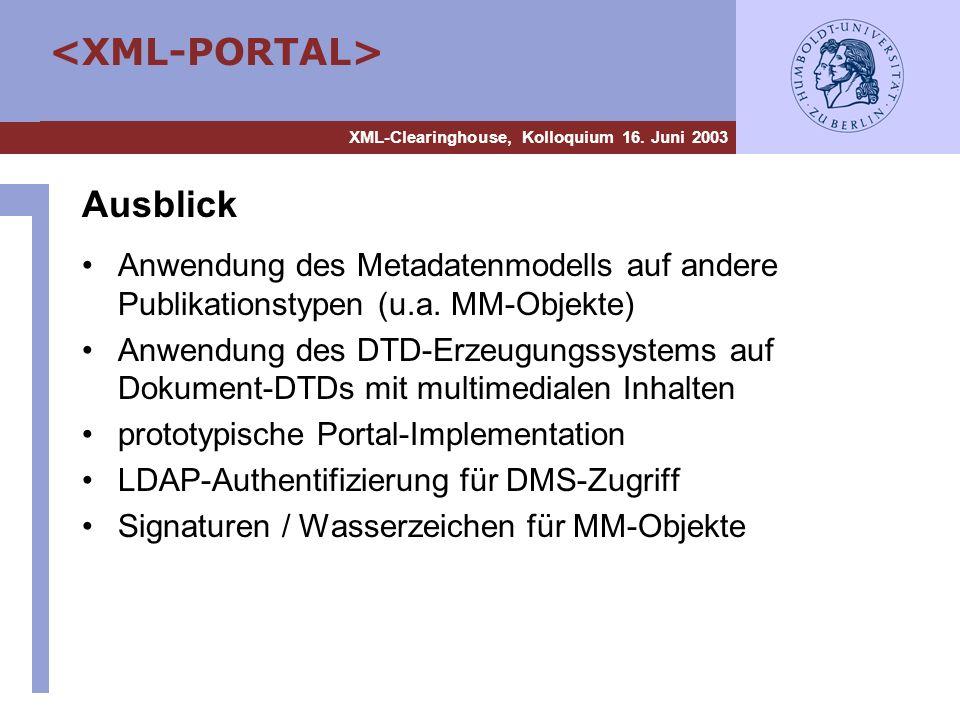 XML-Clearinghouse, Kolloquium 16. Juni 2003 Ausblick Anwendung des Metadatenmodells auf andere Publikationstypen (u.a. MM-Objekte) Anwendung des DTD-E