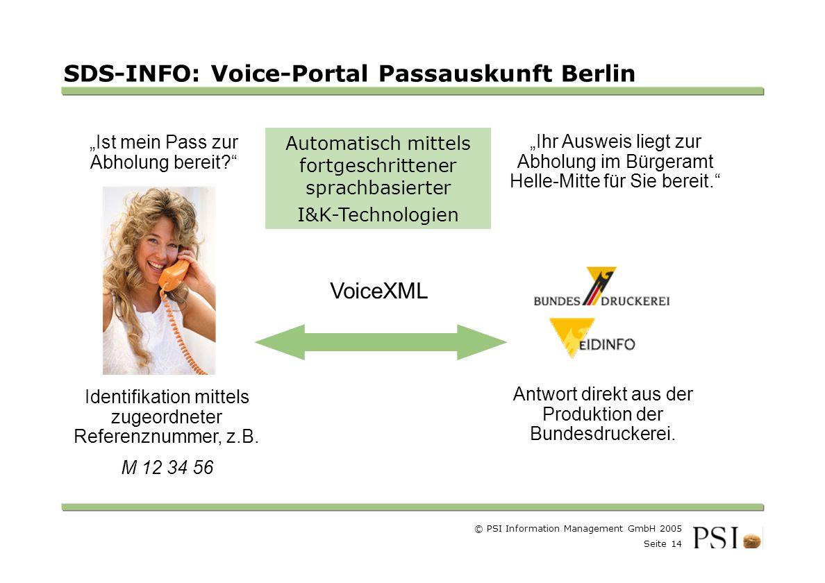 © PSI Information Management GmbH 2005 Seite 14 Farben Buttons der Geschäftsgebiete Linienstärken 1 Punkt Städtebutton SDS-INFO: Voice-Portal Passauskunft Berlin Identifikation mittels zugeordneter Referenznummer, z.B.