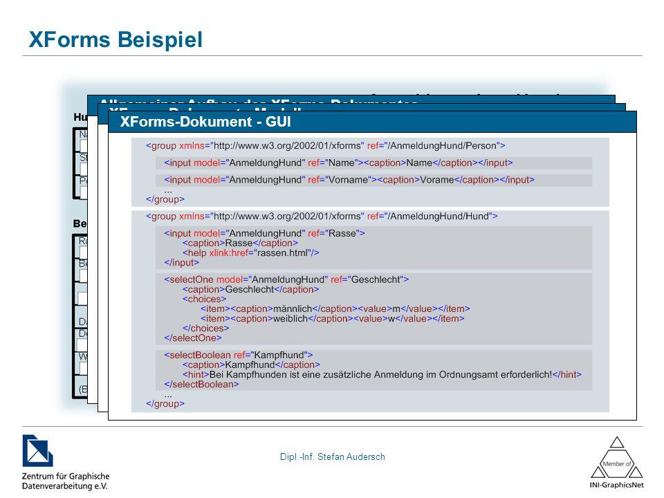 Dipl.-Inf. Stefan Audersch XForms Beispiel Allgemeiner Aufbau des XForms-Dokumentes XForms-Dokument - Modell XForms-Dokument - GUI