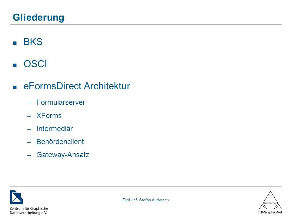 Dipl.-Inf. Stefan Audersch Gliederung BKS OSCI eFormsDirect Architektur –Formularserver –XForms –Intermediär –Behördenclient –Gateway-Ansatz