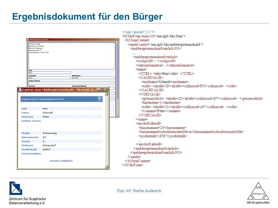 Dipl.-Inf. Stefan Audersch Ergebnisdokument für den Bürger...... Herr Schmidt 28 FN 22 GV 1 21 AV Peter 24 a 18567...
