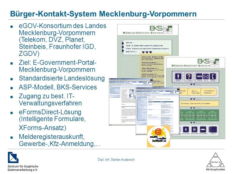 Dipl.-Inf. Stefan Audersch Bürger-Kontakt-System Mecklenburg-Vorpommern eGOV-Konsortium des Landes Mecklenburg-Vorpommern (Telekom, DVZ, Planet, Stein