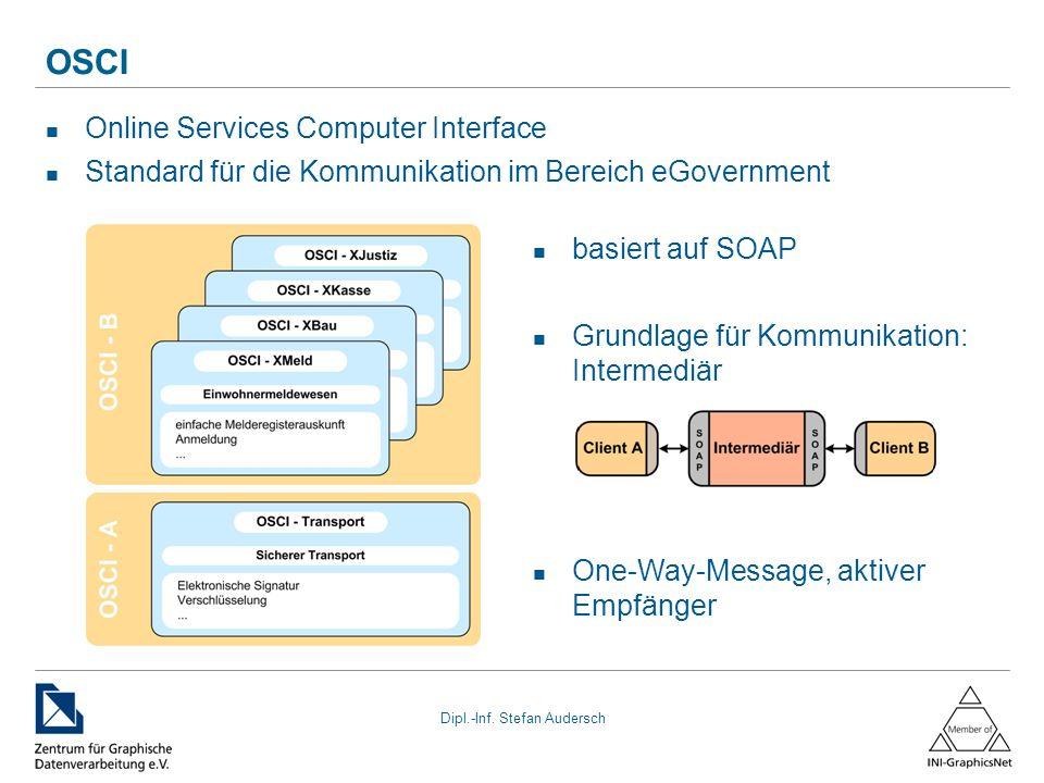 Dipl.-Inf. Stefan Audersch OSCI Online Services Computer Interface Standard für die Kommunikation im Bereich eGovernment basiert auf SOAP Grundlage fü