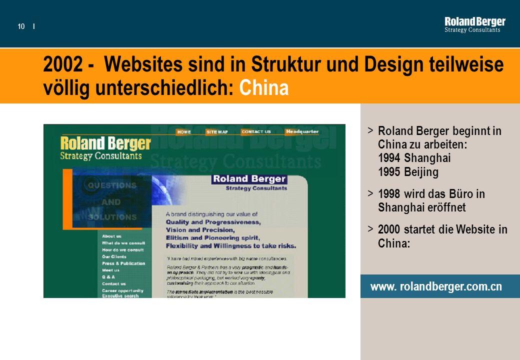 10I 2002 - Websites sind in Struktur und Design teilweise völlig unterschiedlich: China > Roland Berger beginnt in China zu arbeiten: 1994 Shanghai 19