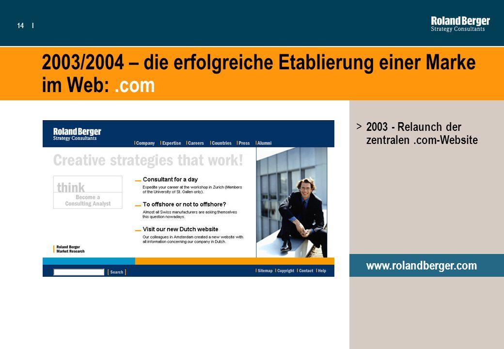 14I 2003/2004 – die erfolgreiche Etablierung einer Marke im Web:.com > 2003 - Relaunch der zentralen.com-Website www.rolandberger.com