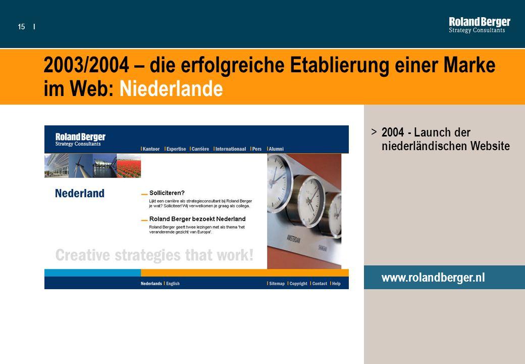15I 2003/2004 – die erfolgreiche Etablierung einer Marke im Web: Niederlande www.rolandberger.nl > 2004 - Launch der niederländischen Website