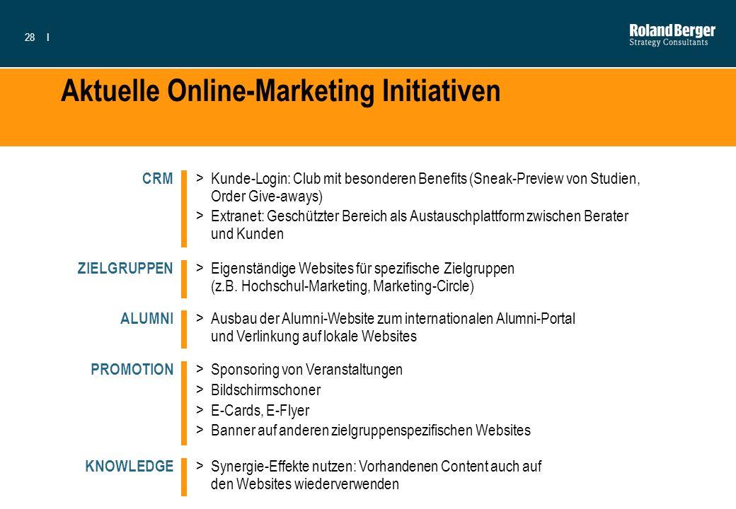 28I Aktuelle Online-Marketing Initiativen >Kunde-Login: Club mit besonderen Benefits (Sneak-Preview von Studien, Order Give-aways) >Extranet: Geschütz