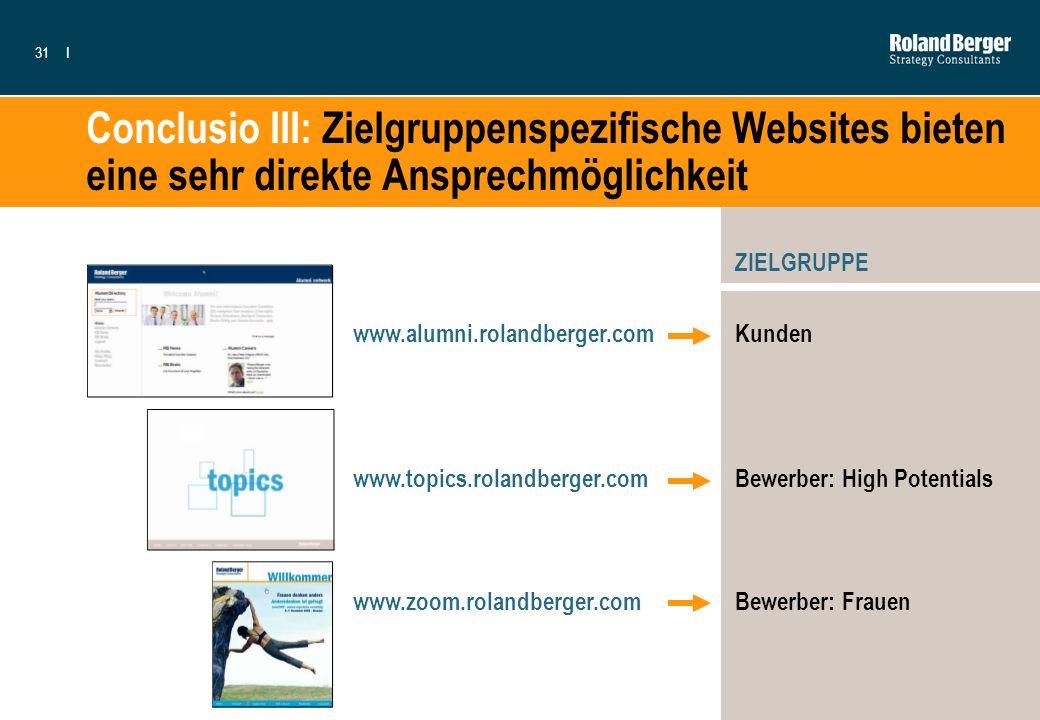 31I Conclusio III: Zielgruppenspezifische Websites bieten eine sehr direkte Ansprechmöglichkeit www.alumni.rolandberger.com www.topics.rolandberger.co