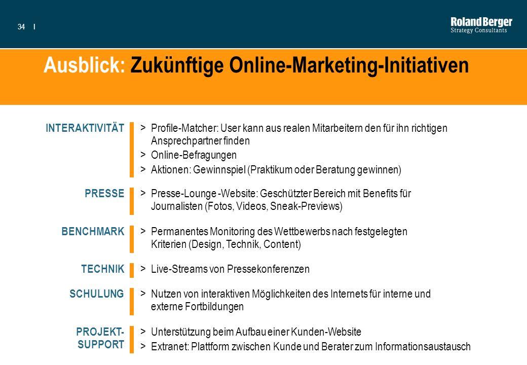 34I Ausblick: Zukünftige Online-Marketing-Initiativen >Profile-Matcher: User kann aus realen Mitarbeitern den für ihn richtigen Ansprechpartner finden