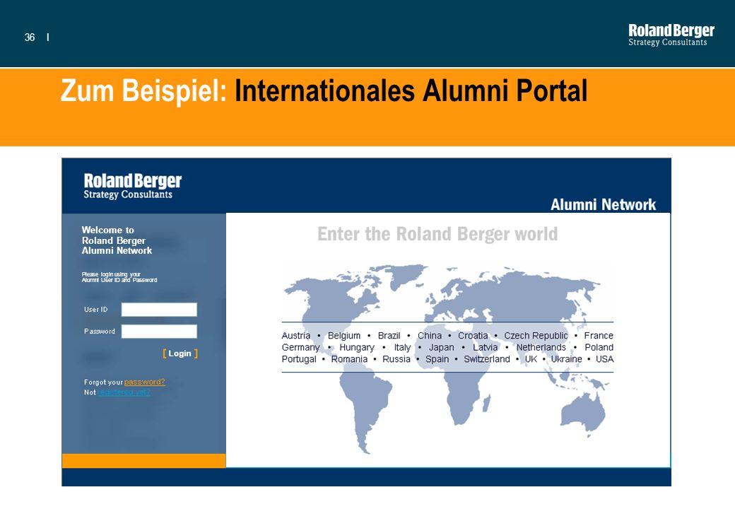 36I Zum Beispiel: Internationales Alumni Portal Welcome to Roland Berger Alumni Network Please login using your Alumni User ID and Password