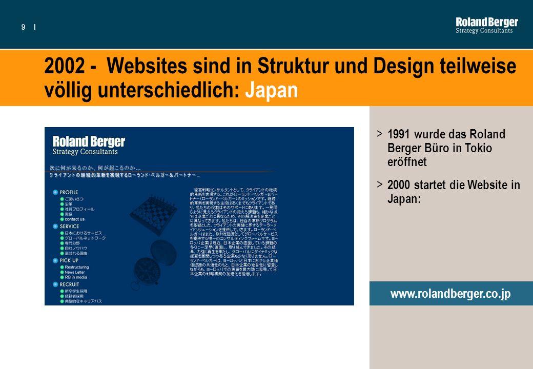 9I 2002 - Websites sind in Struktur und Design teilweise völlig unterschiedlich: Japan > 1991 wurde das Roland Berger Büro in Tokio eröffnet > 2000 st