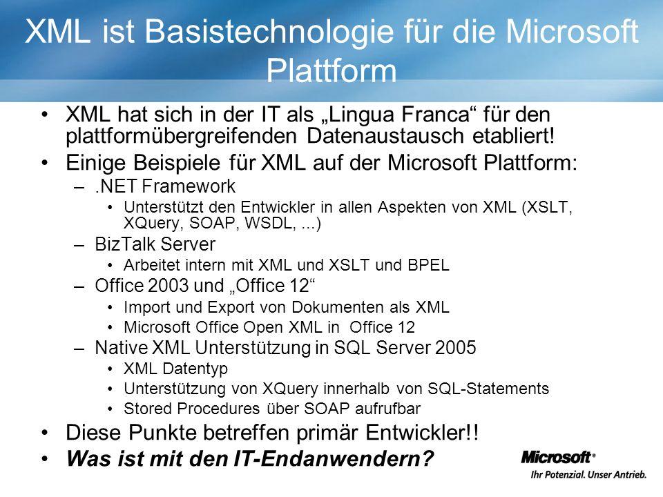 XML ist Basistechnologie für die Microsoft Plattform XML hat sich in der IT als Lingua Franca für den plattformübergreifenden Datenaustausch etabliert