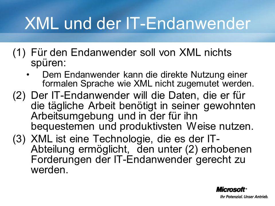 XML und der IT-Endanwender (1)Für den Endanwender soll von XML nichts spüren: Dem Endanwender kann die direkte Nutzung einer formalen Sprache wie XML nicht zugemutet werden.