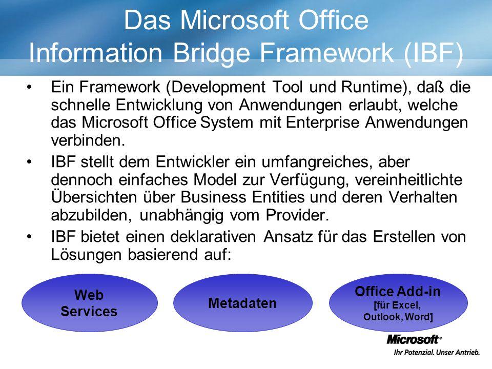 Web Services Metadaten Office Add-in [für Excel, Outlook, Word] Das Microsoft Office Information Bridge Framework (IBF) Ein Framework (Development Tool und Runtime), daß die schnelle Entwicklung von Anwendungen erlaubt, welche das Microsoft Office System mit Enterprise Anwendungen verbinden.