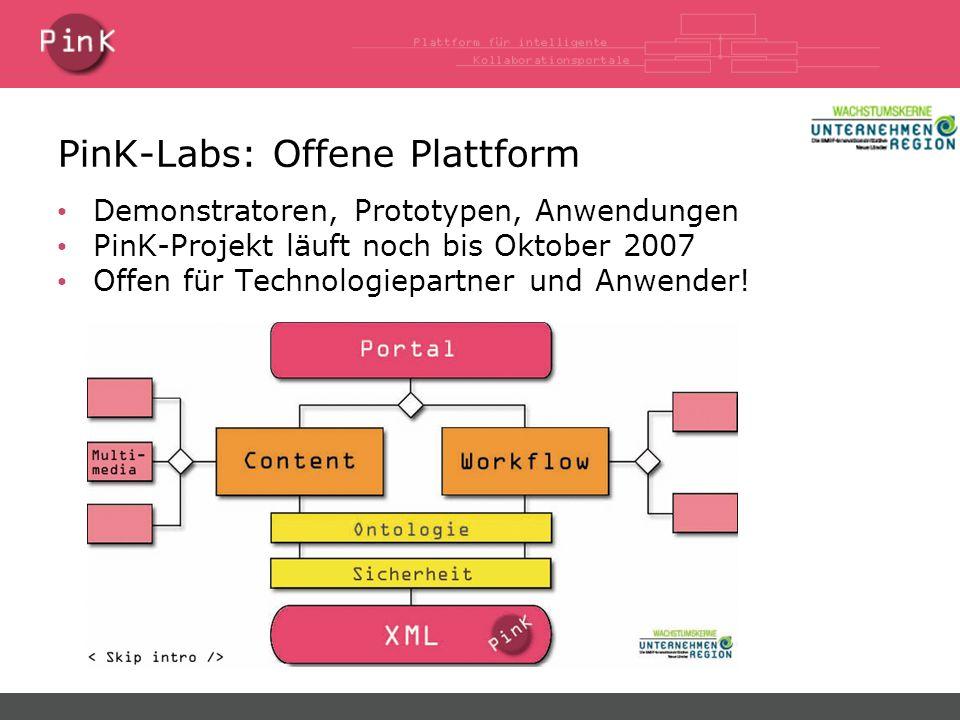 PinK-Labs: Offene Plattform Demonstratoren, Prototypen, Anwendungen PinK-Projekt läuft noch bis Oktober 2007 Offen für Technologiepartner und Anwender!
